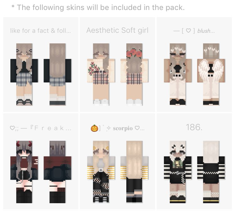 Mcpe Bedrock Aesthetic Skin Pack Male Female Minecraft Skins