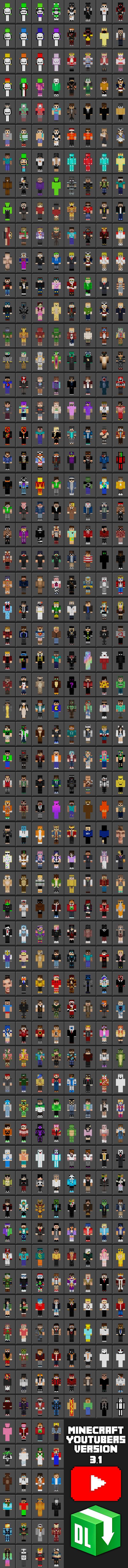 Minecraft YouTubers 1111.11  Minecraft Skin Packs