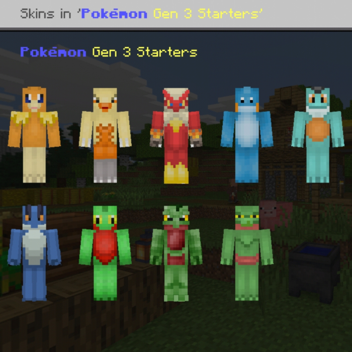 Pokemon Skins Gen 3 Starters All Evolutions Minecraft Skin Packs