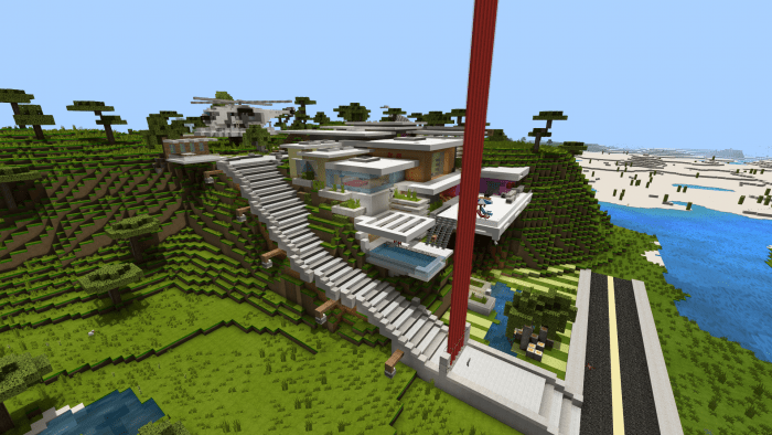 Hillside Redstone Commandblock Mansion Minecraft Pe Maps